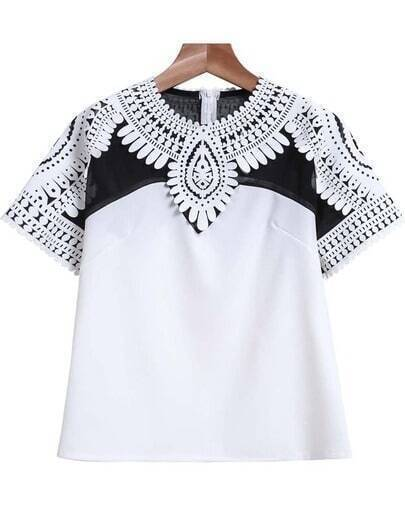 White Short Sleeve Floral Crochet Crop T-Shirt