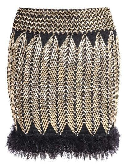 Gold Contrast Faux Fur Bodycon Skirt