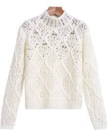 White Hollow Beading Long Sleeve Sweater
