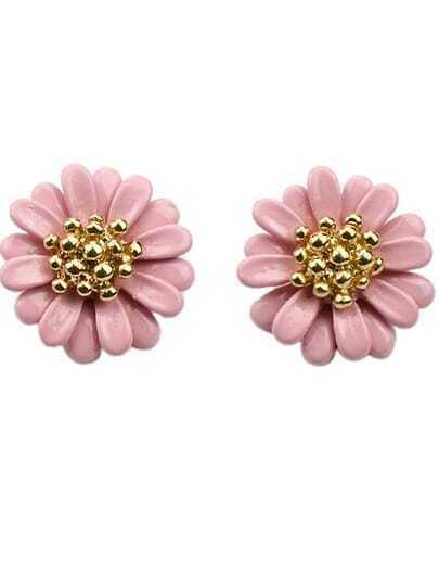 Pink Bead Flower Stud Earrings