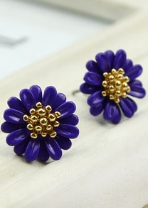Purple Bead Flower Stud Earrings