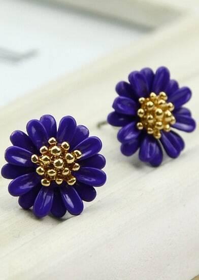 Purple Bead Flower Stud Earrings