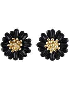 Black Bead Flower Stud Earrings