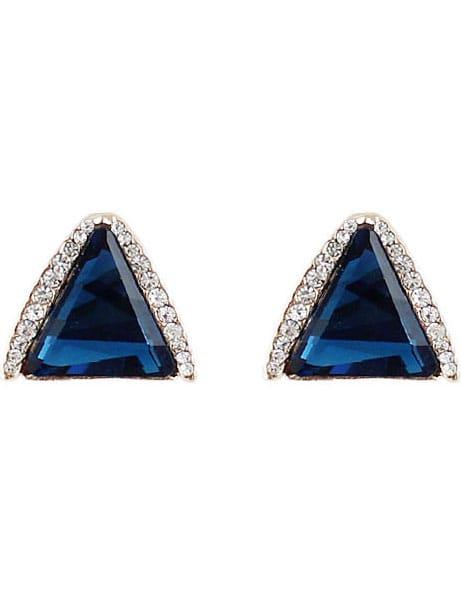 Navy Gemstone Gold Triangle Stud Earrings