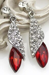 Red Gemstone Silver Crystal Stud Earrings
