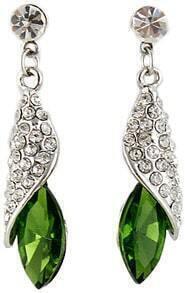 Green Gemstone Silver Crystal Stud Earrings