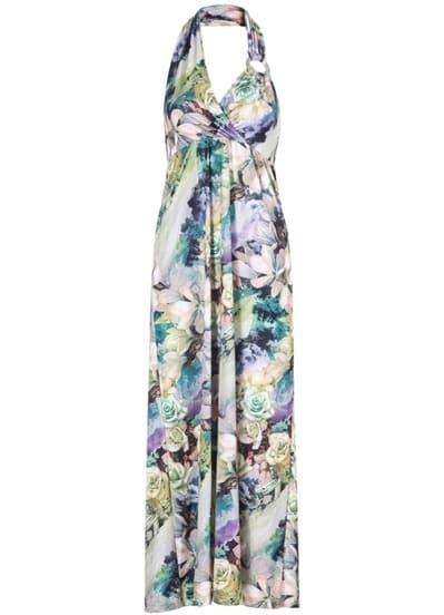 Green Halter Backless Print Maxi Dress
