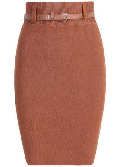 Khaki With Belt Knit Bodycon Skirt