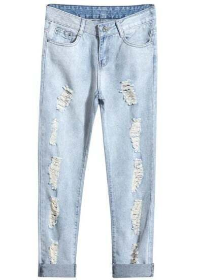 Blue Pockets Ripped Denim Pants