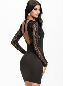 Black Long Sleeve Lace Backless Dress