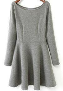 Grey Round Neck Long Sleeve Pleated Dress