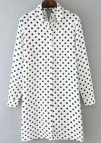 White Lapel Polka Dot Hollow Loose Dress