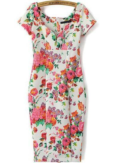 Red Floral Round Neck Short Sleeve Bodycon Dress