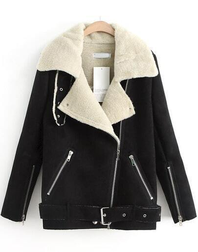 Black Zipper Pockets Long Sleeve Lapel Coat