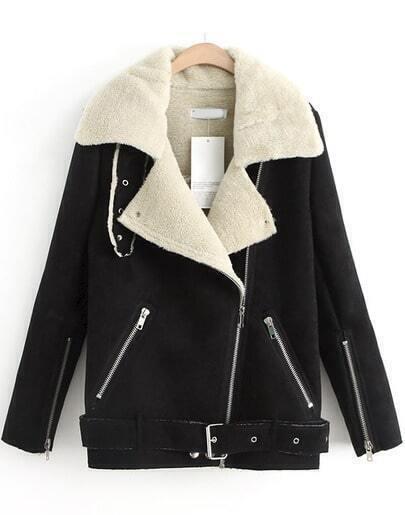 Black Zipper Pockets Long Sleeve Lapel Coat