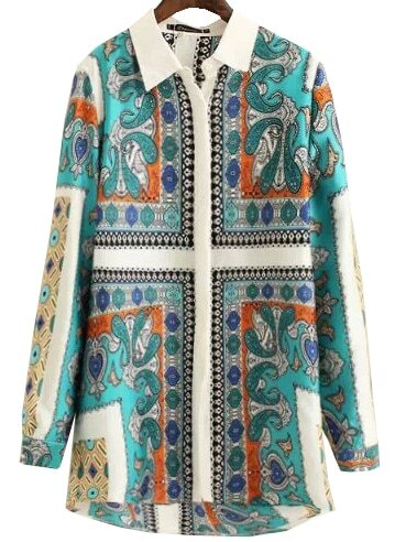 Green Lapel Long Sleeve Vintage Print Blouse