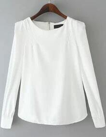 White Round Neck Long Sleeve Zipper Blouse