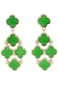 Green Gold Flowers Earrings
