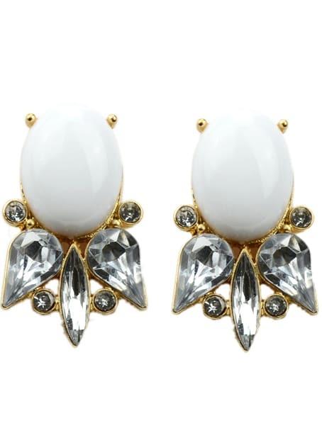 Купить White Gemstone Retro Silver Hollow Dangle Earrings
