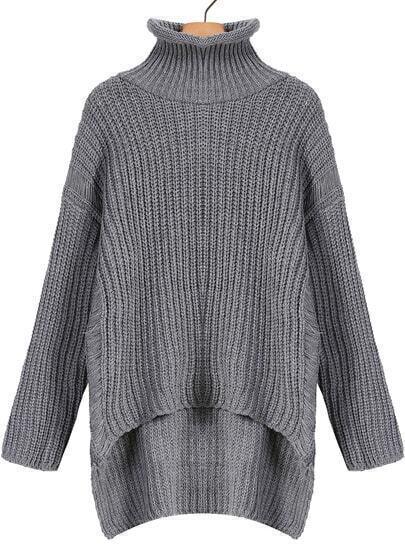 Grey High Neck Long Sleeve Dipped Hem Sweater