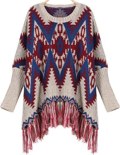 Red Tassel Round Neck Geometric Print Loose Sweater