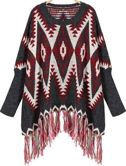 Blue Tassel Round Neck Geometric Print Loose Sweater