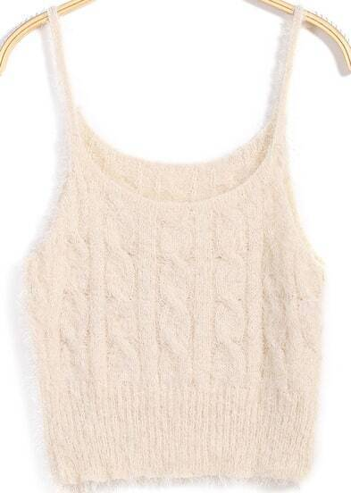 Beige Spaghetti Strap Cable Knit Cami Top