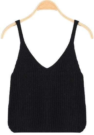 Black Spaghetti Strap Knit Crop Cami Top