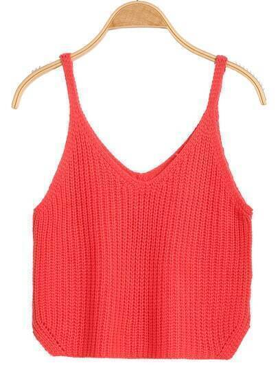 Red Spaghetti Strap Knit Crop Cami Top