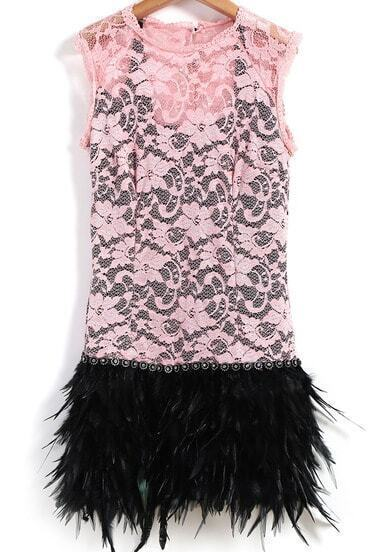 Pink Haute Sleeveless Contrast Feather Bodycon Flapper Dress