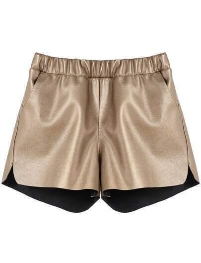 Gold Elastic Waist Straight Shorts