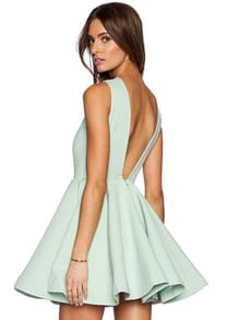 Green Sleeveless V Back Flare Dress