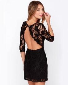 Black Half Sleeve Backless Lace Dress