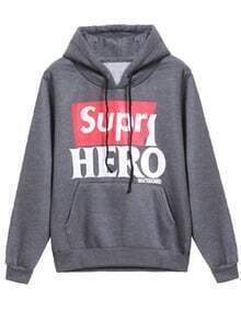 Grey Hooded Long Sleeve Supr HERO Print Sweatshirt
