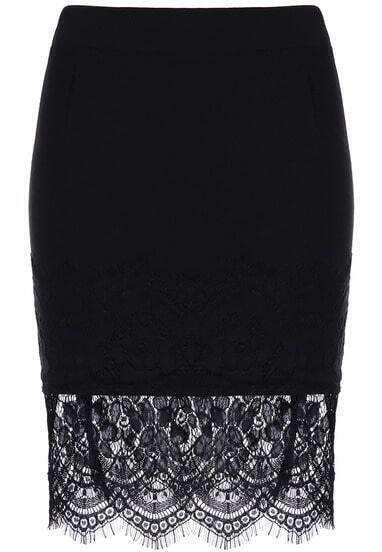 Black Lace Bodycon Skirt