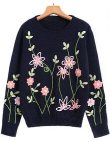 Royal Blue Long Sleeve Embroidered Knit Sweater