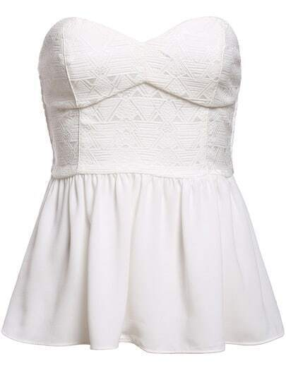 White Strapless Contrast Chiffon Top