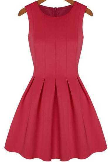 Red Round Neck Sleeveless Pleated Flare Dress