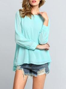 Light Green Long Sleeve Pleated Back Blouse