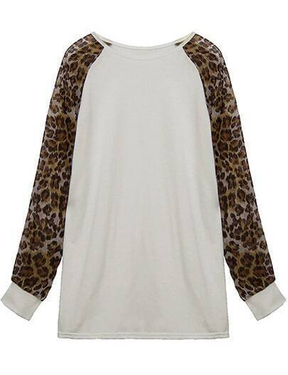 White Leopard Long Sleeve Loose Blouse