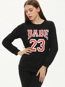 Black Round Neck Long Sleeve BABE 23 Print Sweatshirt
