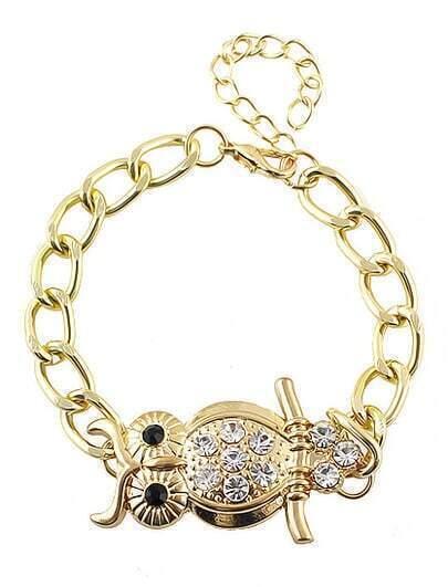 Gold Diamond Owl Link Bracelet