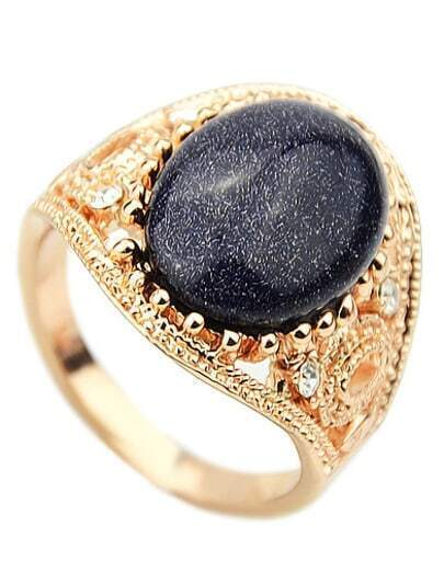 Black Gemstone Gold Hollow Ring