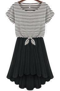 Black Round Neck Striped Dipped Hem Pleated Dress