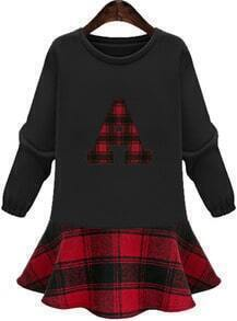 Black Round Neck A Print Plaid Pleated Dress