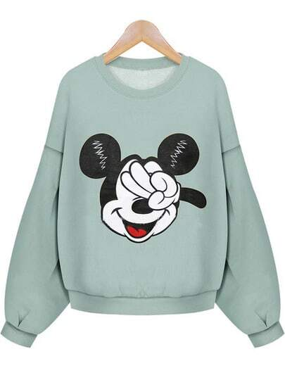 Green Long Sleeve Mickey Mouse Print Crop Sweatshirt