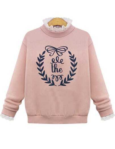Pink Long Sleeve Letter Print Contrast Lace Sweatshirt
