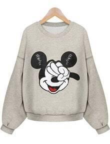 Grey Long Sleeve Mickey Mouse Print Crop Sweatshirt