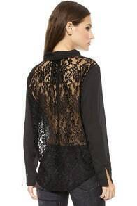 Black V Neck Long Sleeve Contrast Lace Loose Blouse
