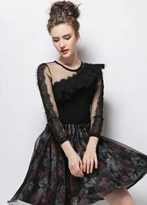 Black Round Neck Contrast Lace Ruffle Slim Blouse